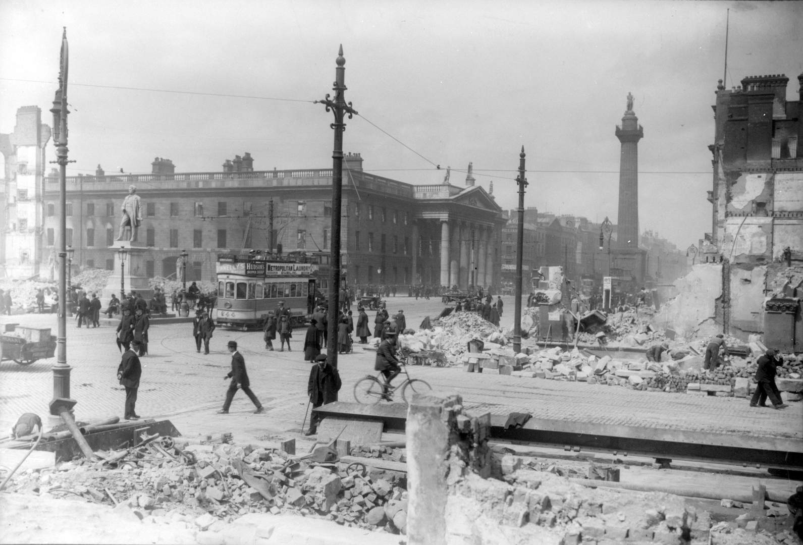 Dublin in ruins during the 1916 Rising