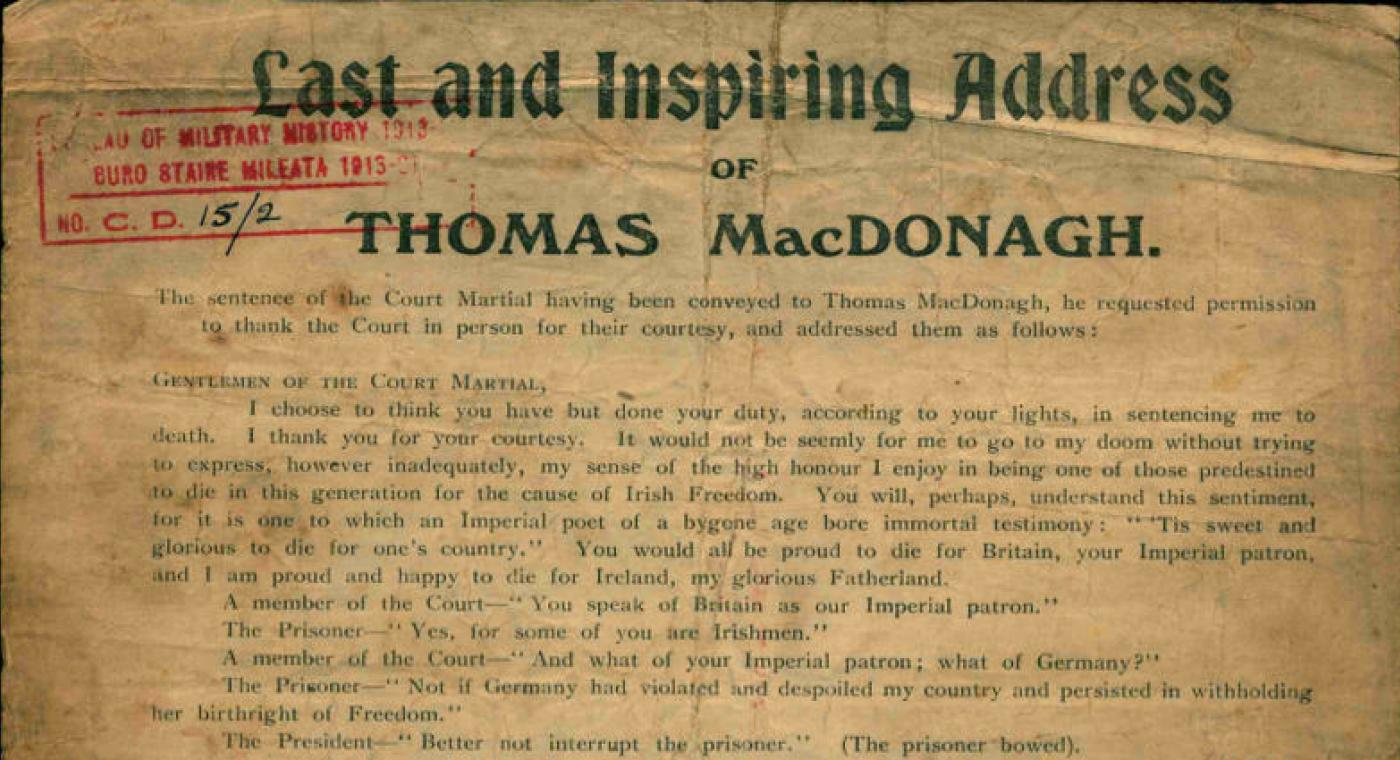 Thomas MacDonagh's Last Address