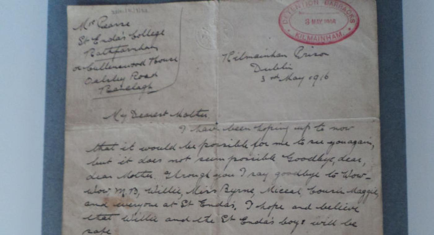 PH Pearse's original letter from Kilmainham